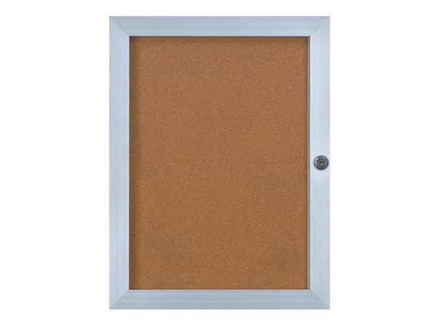UNITED VISUAL PRODUCTS UVEB1824SATINCORK Enclosed Bulletin Board,Letter,24x18