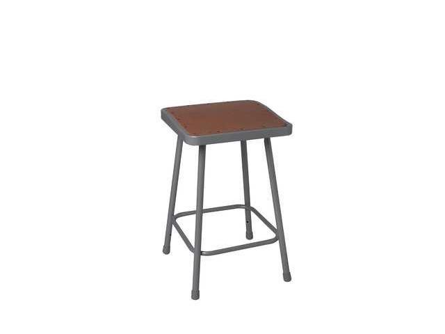 NATIONAL PUBLIC SEATING 6318 Stool, Square, Steel, Gray, 18 In. H