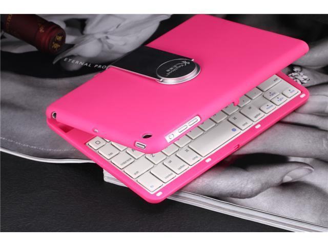 Caper® Ultra-Slim Mini Bluetooth 3.0 Wireless Keyboard 360 Degree Smart Rotate Swivel Cover Case Stand + Bluetooth Keyboard for iPad Mini Color Pink
