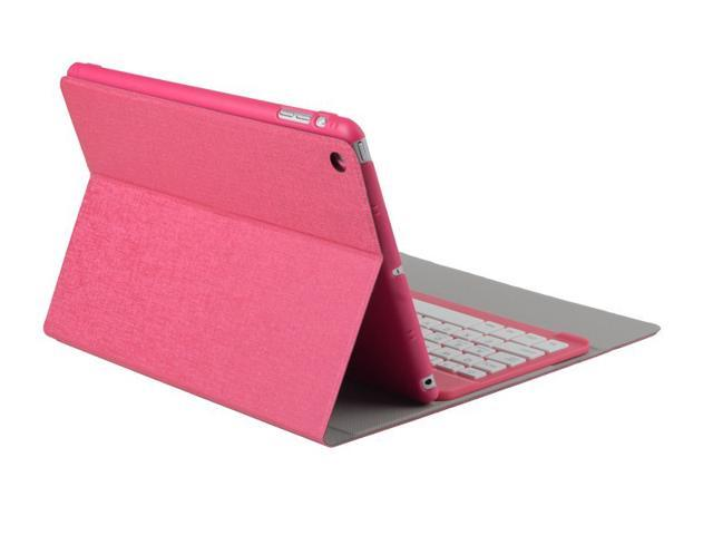 Caper® Ultra-Slim Bluetooth 3.0 Wireless Keyboard Smart Rotate Swivel Cover Case Stand + Bluetooth Keyboard for iPad Air Color Pink