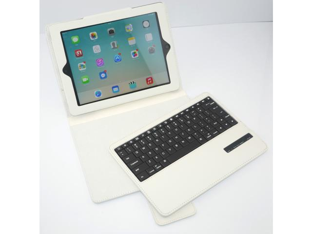 Caper® Ultra-Slim Bluetooth 3.0 Wireless Keyboard with Protective Leather Case Cover for iPad Air Color White