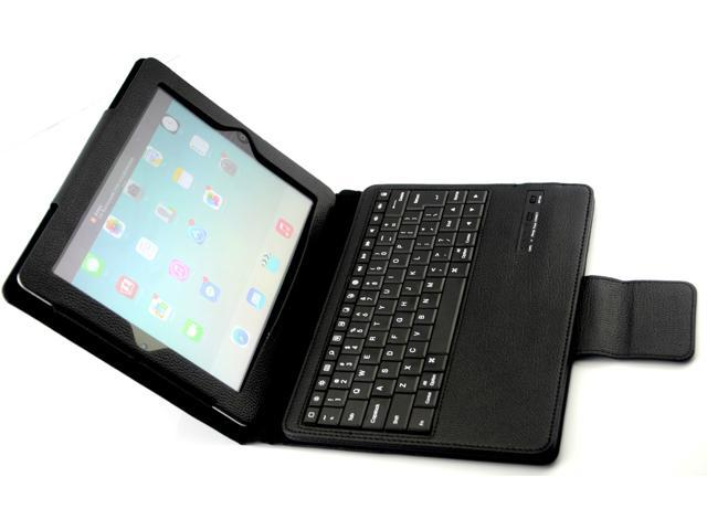 Caper® Ultra-Slim Bluetooth 3.0 Wireless Keyboard with Protective Leather Case Cover for iPad Air Color Black