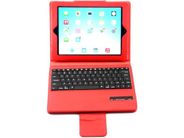 Caper® Ultra-Slim Bluetooth 3.0 Wireless Keyboard with Protective Leather Case Cover for iPad Air Color Red