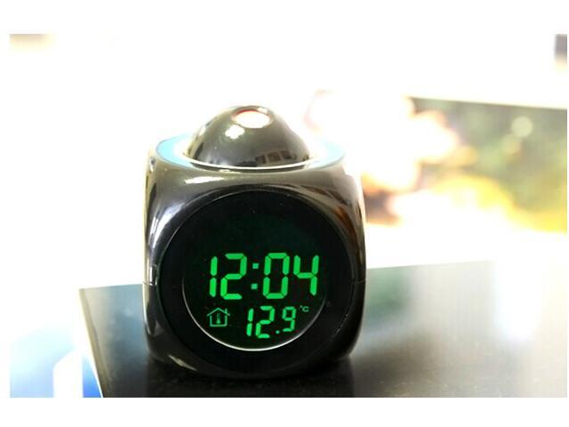 Multifunction Vibe Digital LCD Screen LCD Time Talking Projection Alarm Clock Time & Temp Display Black