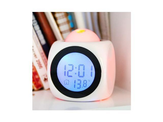 LCD Clock Talking Projection Voice Sound Controlled Alarm Clock ,Desktop Digital Clock White