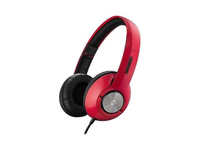 iHome iB45RC Red Wired On-Ear Foldable Adjustable Headphones with Travel Pouch