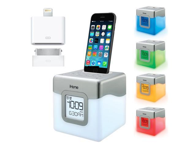 iHome Color Changing Alarm Clock Radio with Programmable snooze, Universal dock for Apple IPhone 4 5 & 6 & Plus