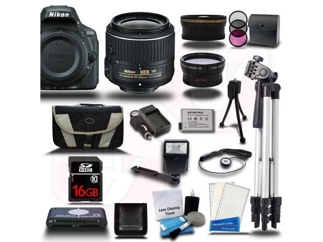 Nikon D5500 DSLR Black Camera w/ 18-55mm + Wide-Angle + Telephoto 3 Lens 23pc Premium Kit 16GB