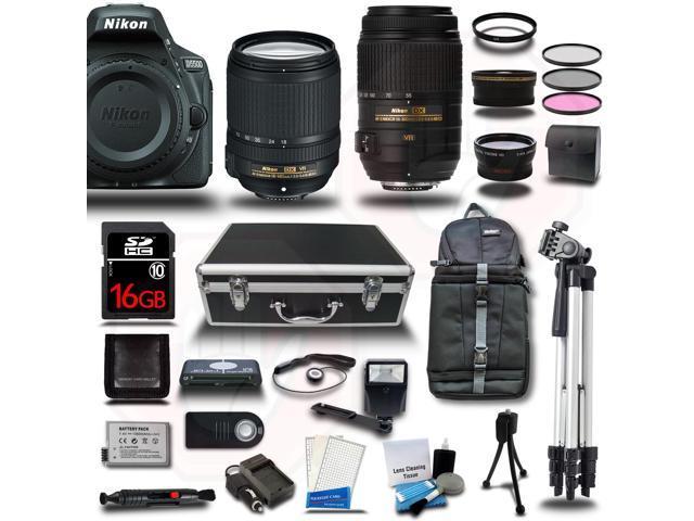 Nikon D5500 DSLR Camera Black w/ 18-140 + 55-300mm VR Lens + 16GB Kit Bundle New