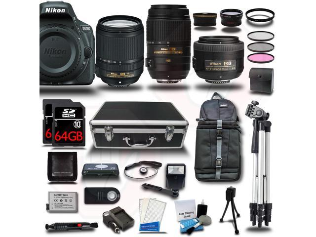 Nikon D5500 DSLR Camera Black w/ 18-140 + 55-300 + 35mm 5 Lens Kit Bundle 128GB