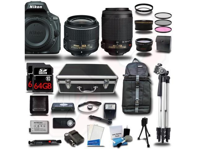 Nikon D5500 DSLR Camera Black w/ 18-55 + 55-200mm VR + 4 Lens Kit Bundle 128GB