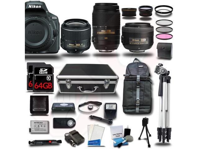 Nikon D5500 DSLR Camera Black w/ 18-55 + 55-300 + 35mm 5 Lens Kit Bundle 128GB