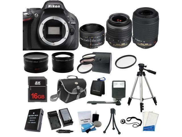 Nikon D5200 SLR Camera + 18-55 VR + 55-200 VR + 50mm 5 Lens Kit Bundle + Extra Battery, Charger 16GB