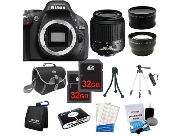 Nikon D5200 SLR Camera + 18-55mm VR + 3 Lens + 64GB + Case / Bag + Tripod - NEW