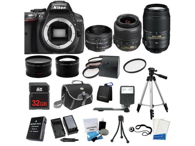 Nikon D5300 SLR Camera + 18-55 VR + 55-300 VR + 50mm - 5 Lens KIT+ 32GB + Case
