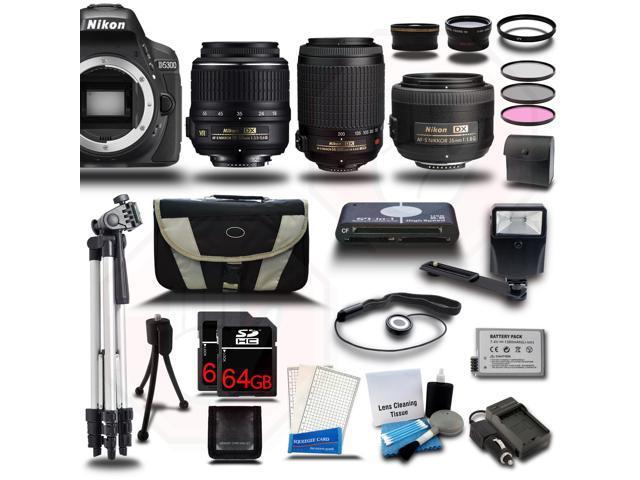 Nikon D5300 SLR Camera + 18-55 VR + 55-200 VR + 35mm - 5 Lens KIT+ 128GB + Case