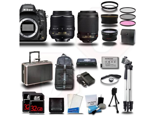 Nikon D610 Camera + 18-55mm + 55-200 VR Kit +64GB + 2 Cases + Tripod + Battery +