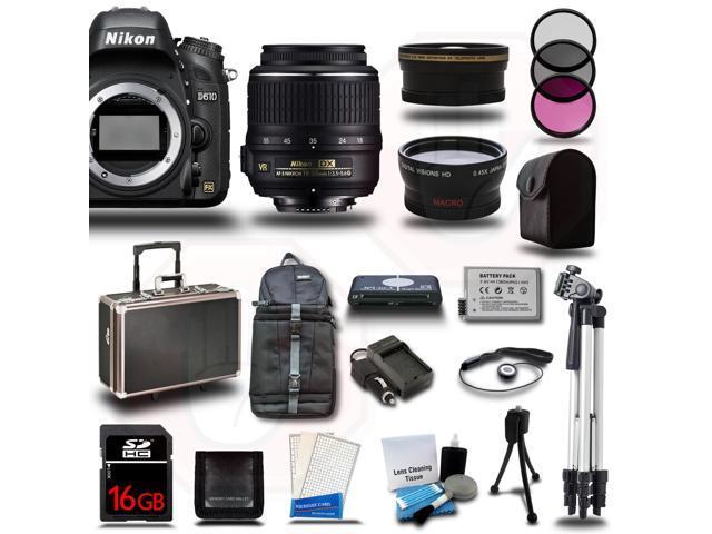 Nikon D610 SLR Camera Body + 18-55mm VR Kit +16GB + 2 Cases + Tripod + Battery +