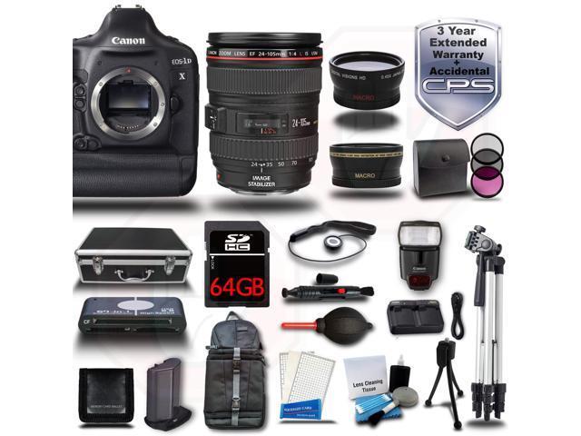 Canon EOS 1DX DSLR Camera + 24-105mm L IS USM 3 Lens 64GB 19pc Kit Bundle + Hard Case + 2x Tripods + Card Reader ...