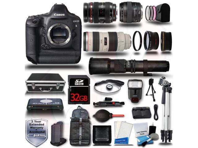 Canon EOS 1DX DSLR Camera + 24-70L + 70-200L + 85 1.8 500mm 6 Lens 32GB 22pc Premium Bundle Kit + Card Reader + Hard ...