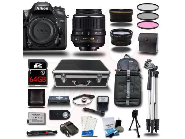 Nikon D7200 Camera 4 Lens 22PC Premium Bundle kit + 18-140mm VR + 50mm 1.8 Lens + 64GB + 2 Case + 2 Tripod + ...