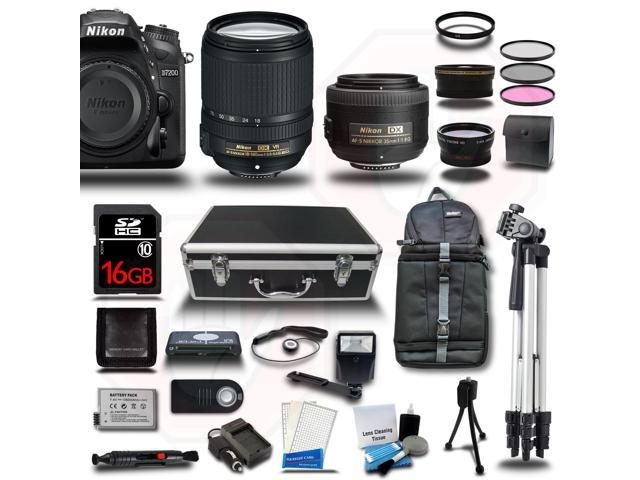 Nikon D7200 Camera 4 Lens Bundle kit + 18-55mm VR + 55-300mm VR Lens + 32GB + 2 Case + 2 Tripod + Extra Battery ...