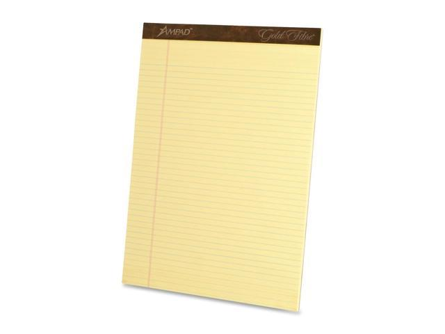 Tops 20020 Gold Fibre Ruled Pad, Legal/Legal Rule, Ltr, Canary, 50-Sheet Pads/Pack, Dozen