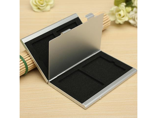 Metal Aluminum Memory Card Protecter Storage Box Case holder for 4x SD/SDHC/MMC