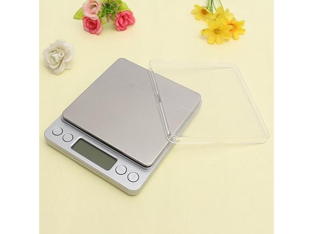 2kg/0.1g Stainless Steel Digital Balance Weight Scale with Tray Precision Postal Kitchen