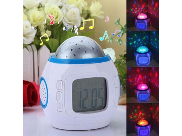 New LED Starry Sky Projection Calendar Thermometer Music LCD Digital Alarm Clock