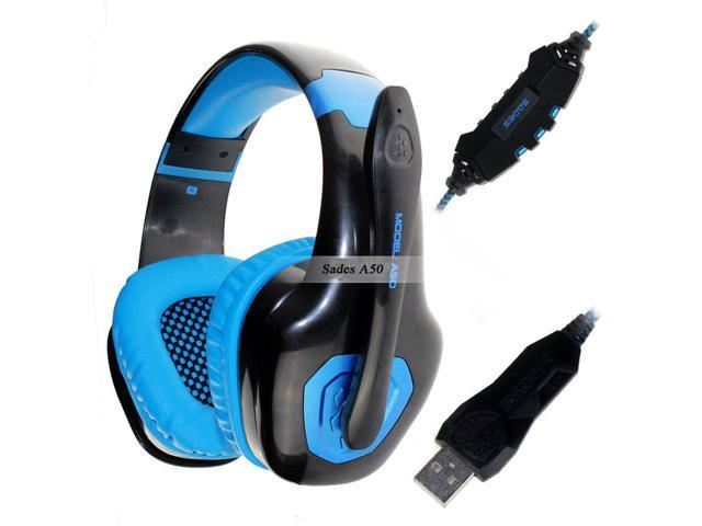 Sades A50 7.1 Surround Sound Effect USB Gaming Headset Headphone Earphone with Mic for PC Computer Game Gamer