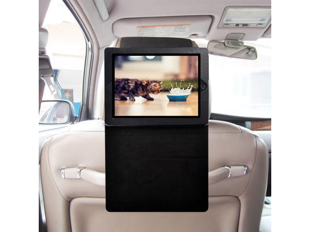 TFY iPad 2 / iPad 3 / iPad 4 Car Headrest Mount, Fast-Attach Fast-Release Standing Cover Case Edition, Black