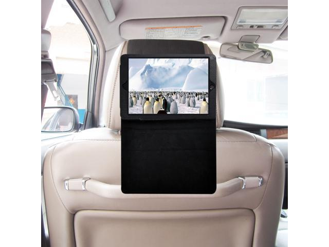 TFY iPad Mini Car Headrest Mount, Fast-Attach Fast-Release Standing Cover Case Edition, Black