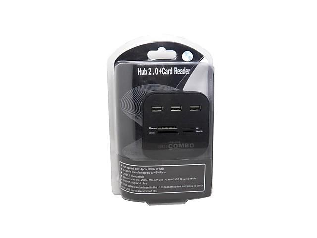 3 Ports USB 2.0 HUB with Multi-Card Reader Combo for SD/MMC/M2/MS MP-All in OneBlack