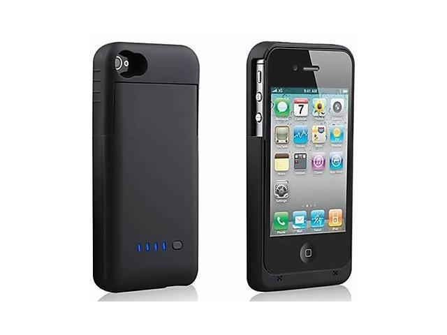 External Battery Backup 1900mAh Rechargeable Charger Case Cover Pack Power Bank for iPhone 4 /4S Black