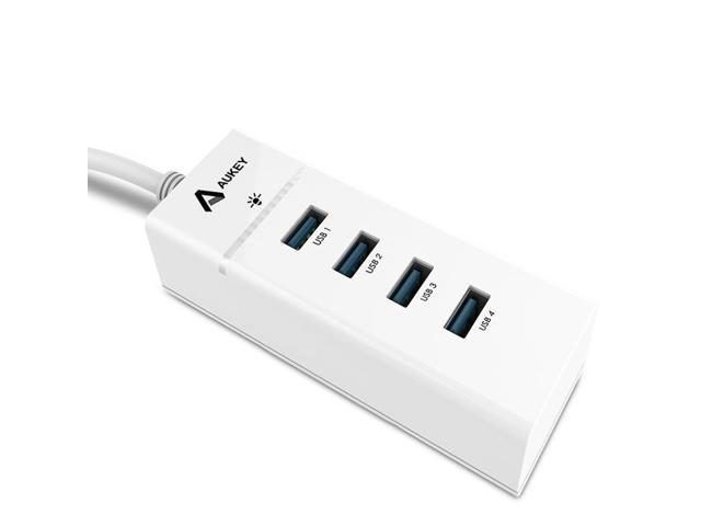 Aukey Multi-Port USB 3.0 Hub Compact SuperSpeed 4-Port Portable Bus-Powered USB Hub with a Built-in 1ft USB 3.0 Cable - White
