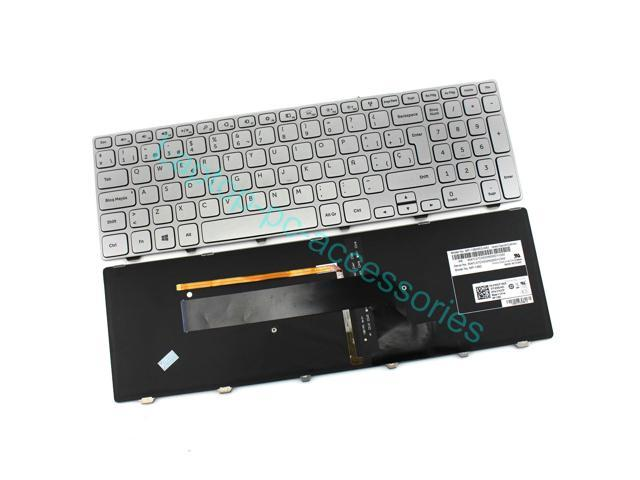 New SP/Spanish Keyboard Teclado For DELL Inspiron 15 7000 Series 7537 7737 Series Laptop Silver with Backlit Replacement Parts Accessories Wholesale