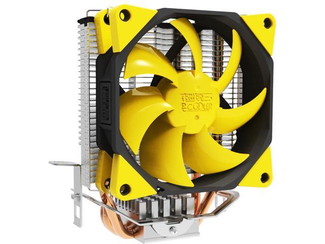 Lotous PCCooler S97 Butterfly Shaped Style Silent Shock-absorbing CPU Cooler with Detachable PWM Fan for Intel AMD (Yellow)