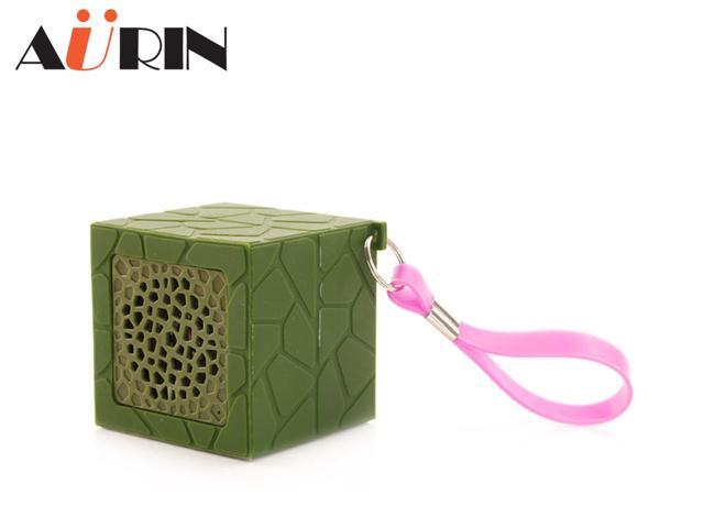 AURIN outdoor Mini Portable Waterproof Drop resistance Rubber Bluetooth Wireless Stereo Speakers with build-in Microphone and wristband-Green