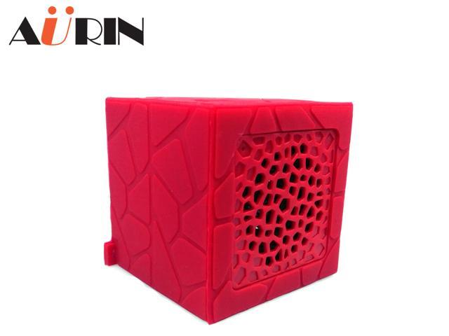 AURIN outdoor Mini Portable Waterproof Drop resistance Rubber Bluetooth Wireless Stereo Speakers with build-in Microphone and wristband-RED