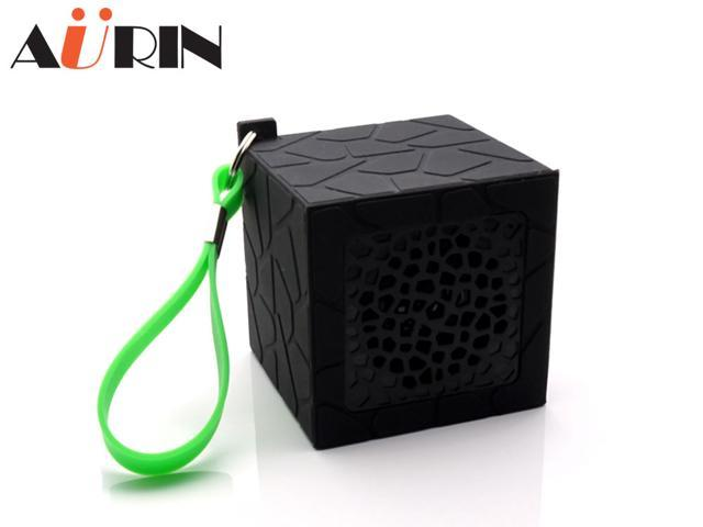AURIN outdoor Mini Portable Waterproof Drop resistance Rubber Bluetooth Wireless Stereo Speakers with build-in Microphone and wristband-Black