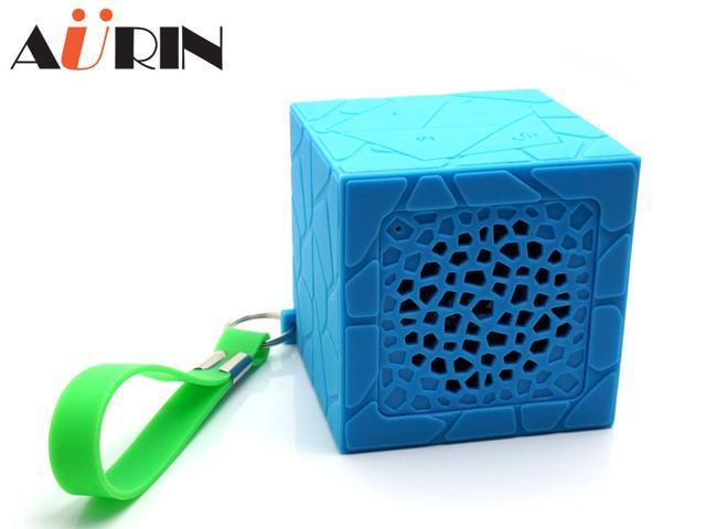 AURIN outdoor Mini Portable Waterproof Drop resistance Rubber Bluetooth Wireless Stereo Speakers with build-in Microphone and wristband-BLUE