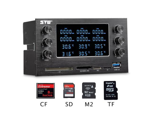 STW 6048 Pc Aluminum Panel Dual Optical Drive 6-channel Fan Speed Controller Media multi-functional Dashboard with card reader 1x Usb 3.0/ ...