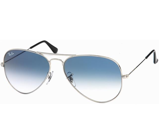ray ban aviator black frame blue lens  Ray Ban RB3025 Aviator Large Metal Sunglasses - Silver Frame / Lt ...