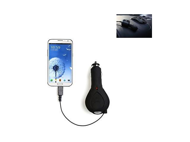 Tirol Retractable Cable Car Charger with Micro USB 1000mA with 1 Meter Wire Black