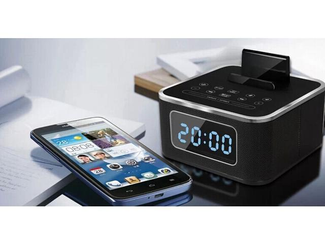 Multi-Function Wireless Bluetooth Speaker With FM Radio Misic Alarm Clock Speaker Support Bluetooth Audio For Hotel Home - Black