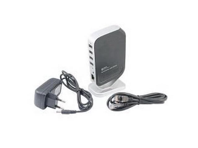 KFLY - High Quality Network USB 2.0 Print Server M4 Printer Share 100Mbps with 4 Port