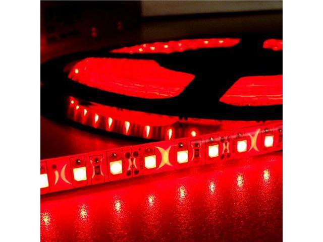 16.4ft (5m) RED Waterproof Flexible LED Strip Lights - 3528 SMD 600LEDs/pc - Waterproof IP-65