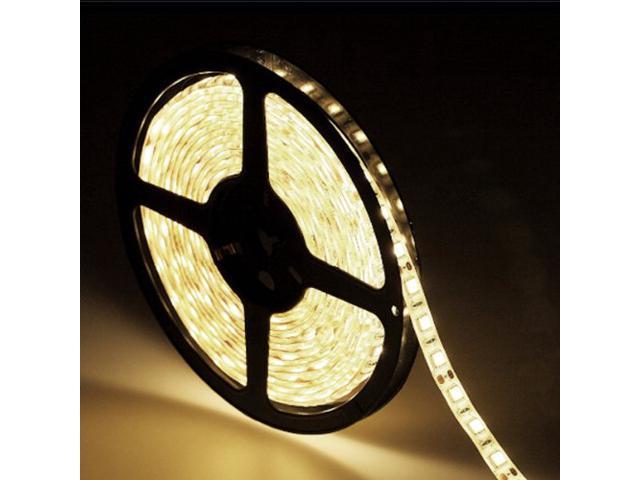 16.4ft (5m) YELLOW Waterproof Flexible LED Strip Lights - 5050 SMD 300LEDs/pc LED Light Strip - Multifunctional LED Tape Light
