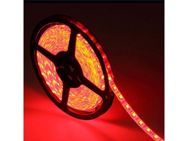 16.4ft (5m) RED Waterproof Flexible LED Strip Lights - 5050 SMD 300LEDs/pc LED Light Strip - Multifunctional LED Tape Light
